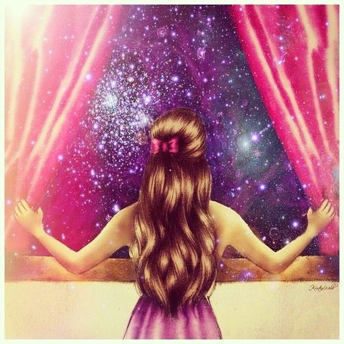 girl cosmos looking at stars out of window