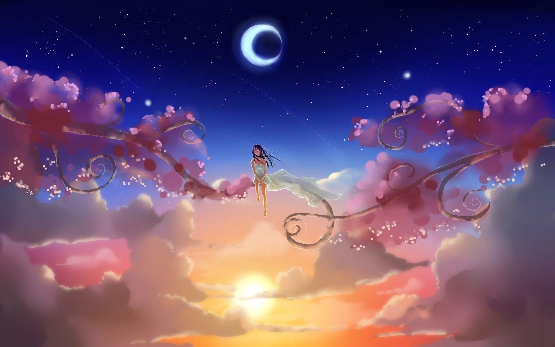 girl looking up at the stars drawing google kereses