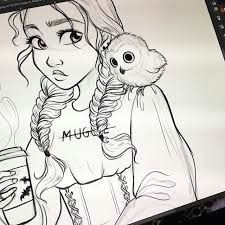 image result for cute drawing of ray looking at a porg