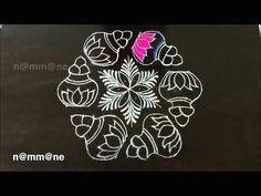 beautiful flower kolam with colors for pongal sankranti muggulu simple and easy rangoli art