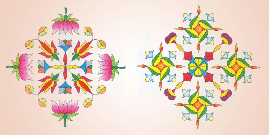 simple rangoli design for diwali celebration