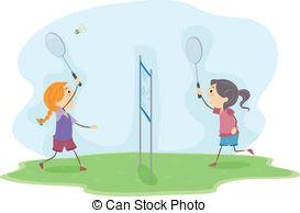 badminton girls illustration of girls playing badminton