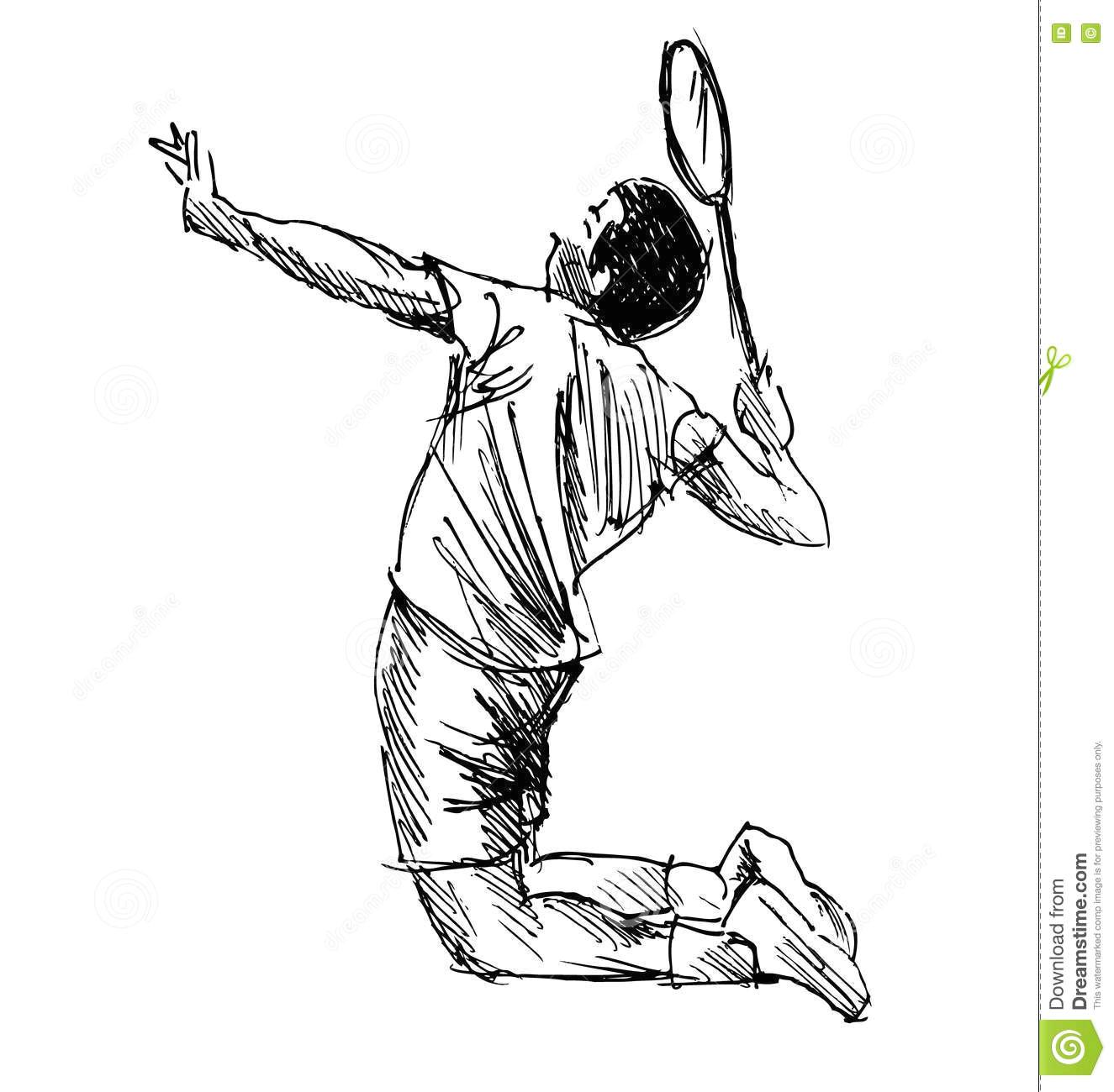 hand sketch badminton player vector illustration stock illustration