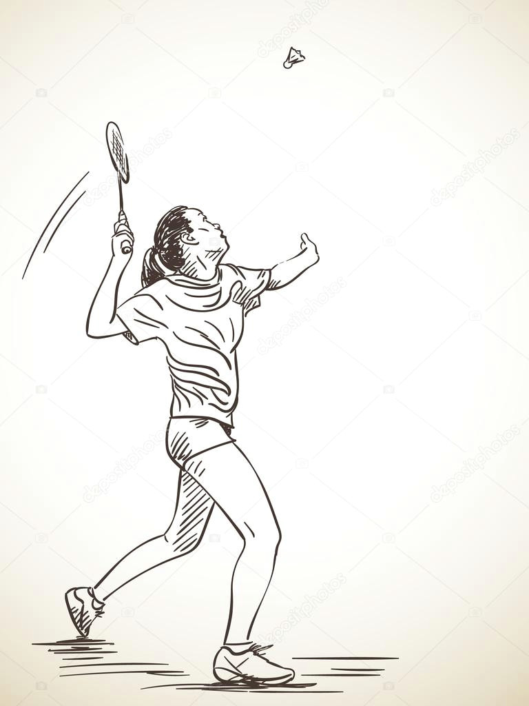 naa rt aktivna a ena badmintonistka rua na kreslenou vektorove ilustrace vektor od olgatropinina