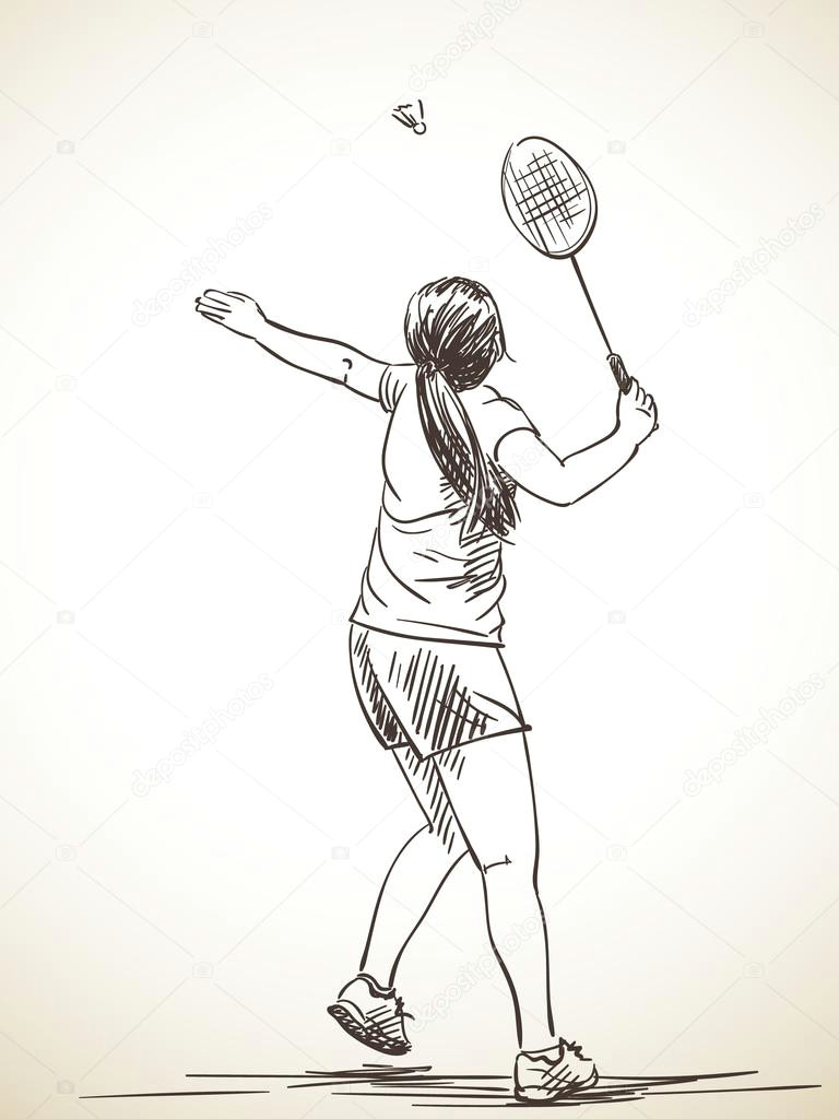 sketch of woman playing badminton vector illustration vektor od