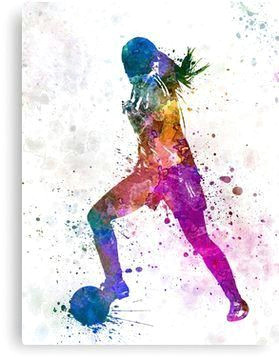 girl playing soccer football player silhouette canvas print soccertips