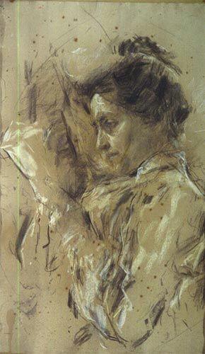 antonio mancini italian 1852 1930 donna in lettura woman reading 1907 08 charcoal and pastel on paper galleria ricci oddi piacenza italy