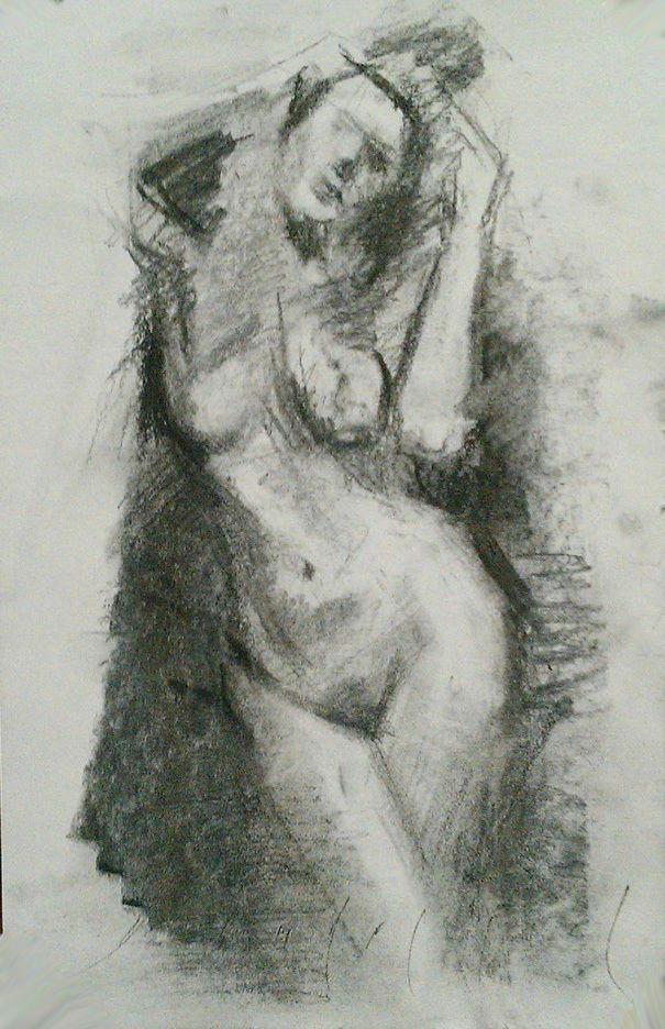 doorway female nude standing figure realistic sketch original charcoal drawing realism