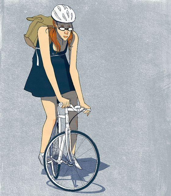 girl on bike by conjunto universo bikingillustration