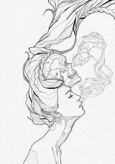 tattoo drawings pencil drawings girl skull tattoos girl tattoo tattoo smoke drawing