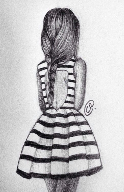 Drawing Of A Girl Standing Alone Girl Fashion Dress Drawing Stripes Art Diy Drawings Art