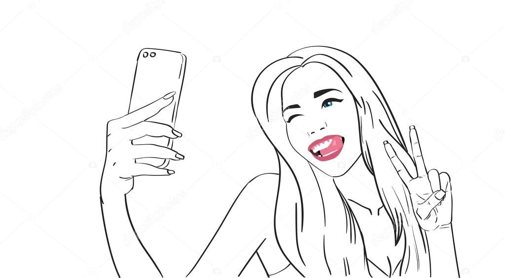 sketch girl take selfie photo on cell smart phone vector illustration wektor od mast3r