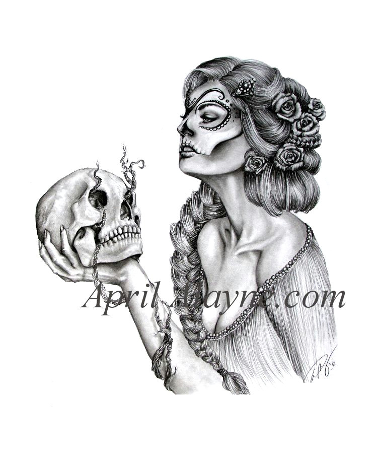 Drawing Of A Girl Tattoo Fanciful Woman and Skull Tattoo Drawings Tattoos Tattoo