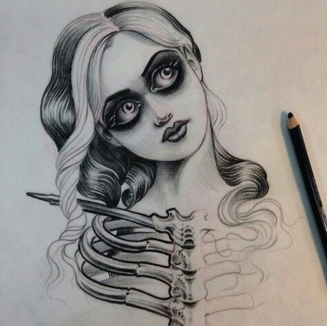 jason minauro skeleton girl creepy tattoo drawing pencil body decor pinterest tattoo drawings tattoos and drawings