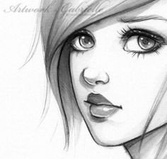 sketch of a quizzical girl a realistic cartoon drawing
