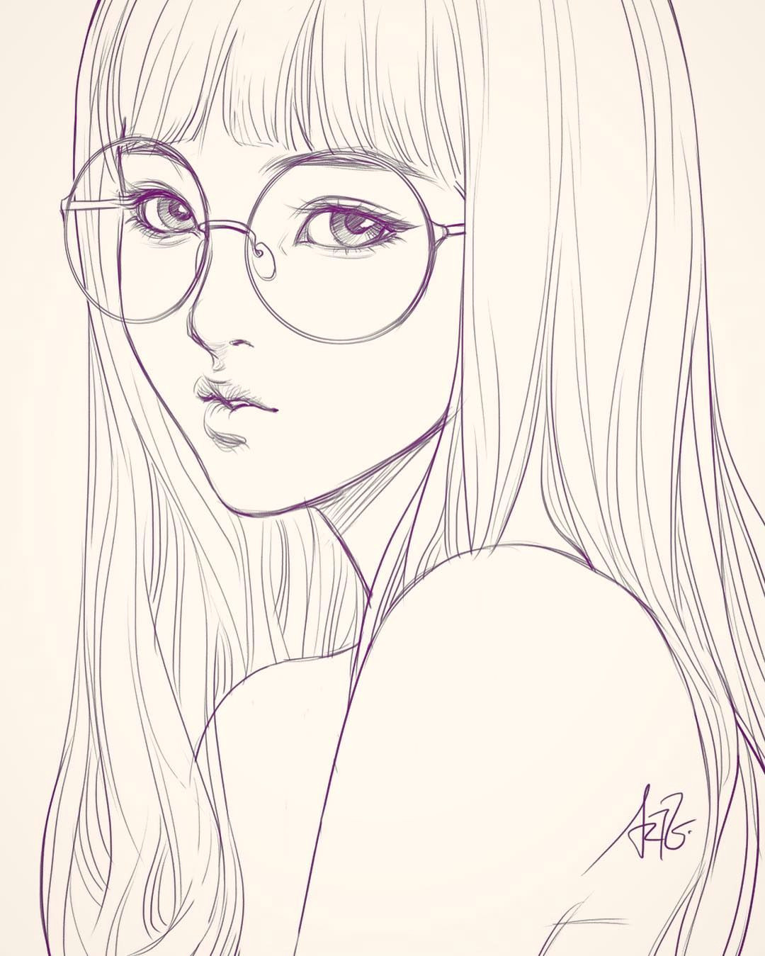last sketch of girl with glasses having bad backache it hurts