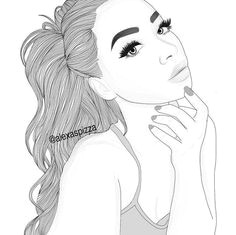 girl outline and drawing image
