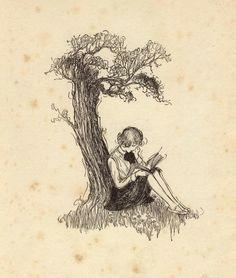 534 notes liquidnight girl reading under a tree circa artist unknown via elfgoblinhybrid deactiva