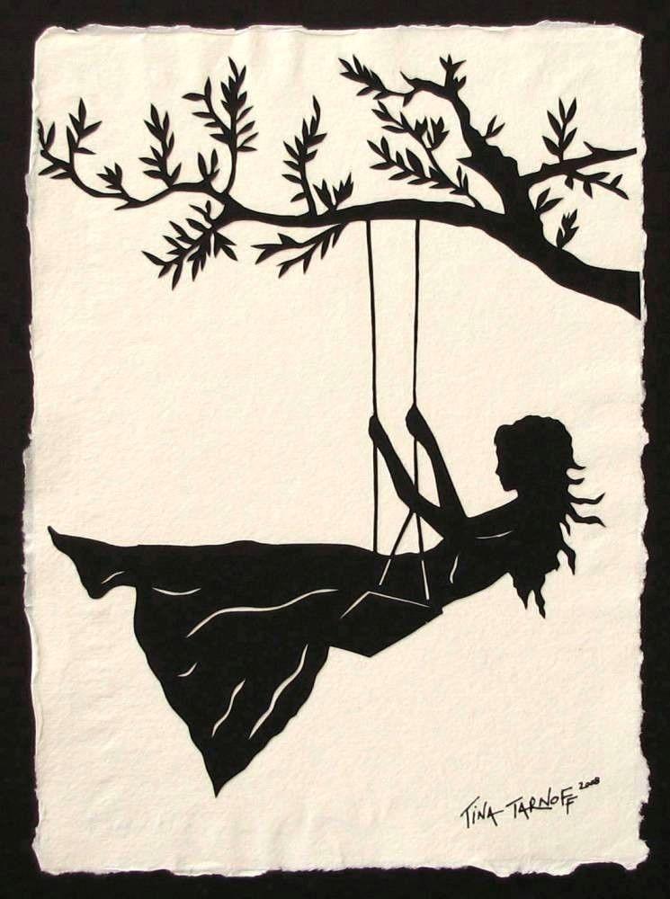 girl on a swing hand cut silhouette papercut 70 00 via etsy