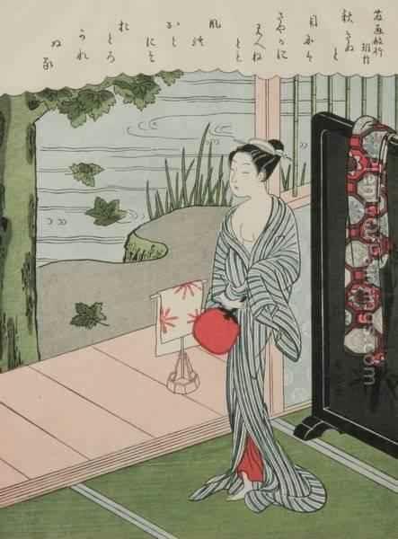 harunobu suzuki girl by veranda late 1760s color woodcut print