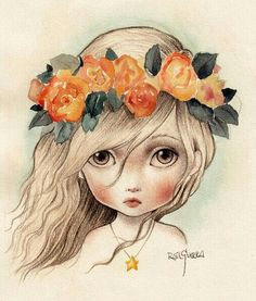 girl with flowers in hair art lost girl eye art art techniques cute