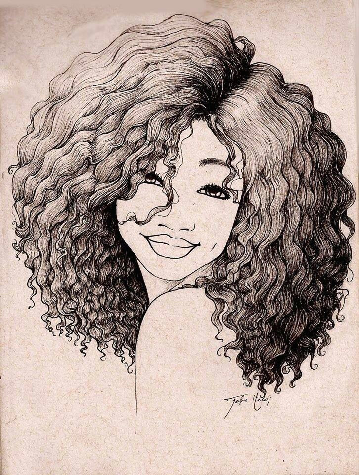 Drawing Of A Girl with Curly Hair Pin by Alesia Leach On Black and White Sketches Art Drawings