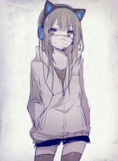 anime neko girl with axent wear headphones