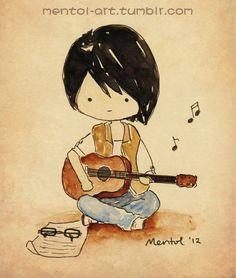 cartoons girls with guitars mentol art cute cartoon characters hand drawings cartoon painting