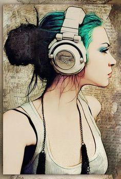 headphones girl arte digital pop art cartoon styles urban art urban music
