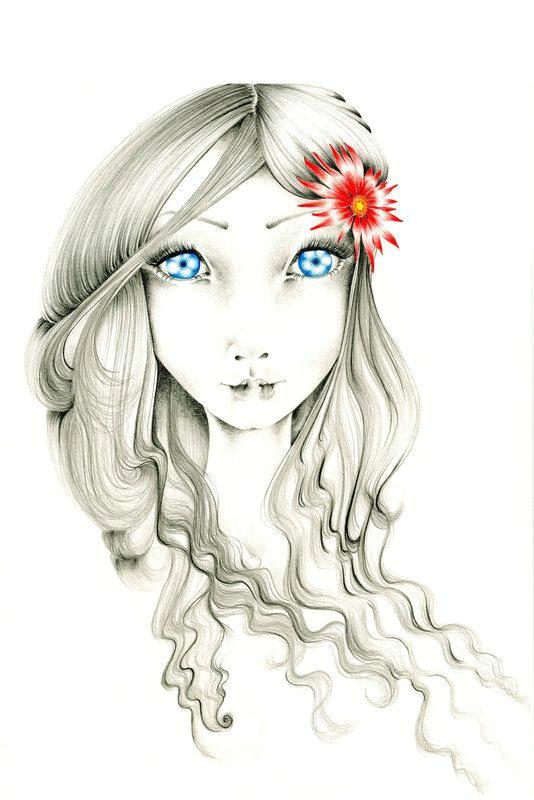 pencil drawing fantasy art print of my original by abitofwhimsyart