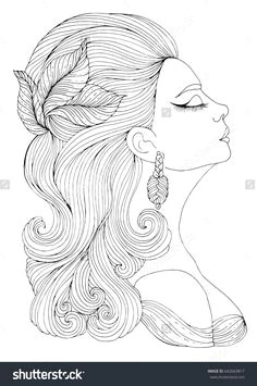vector hand drawn portrait in profile of elegant lady in retro style girl with wavy hair with a hairpin in the form of leaves art deco style