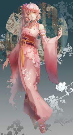 long hair pink hair anime anime girls kimono japanese clothes yellow eyes wallpaper no 447716