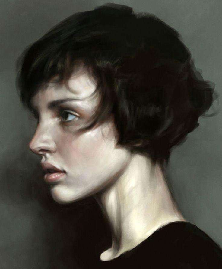 short hair mohamed gambouz figurative realism art female head profile woman face portrait digital painting loveart