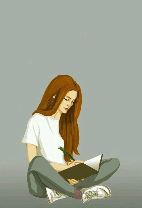 girl is writing illustration art