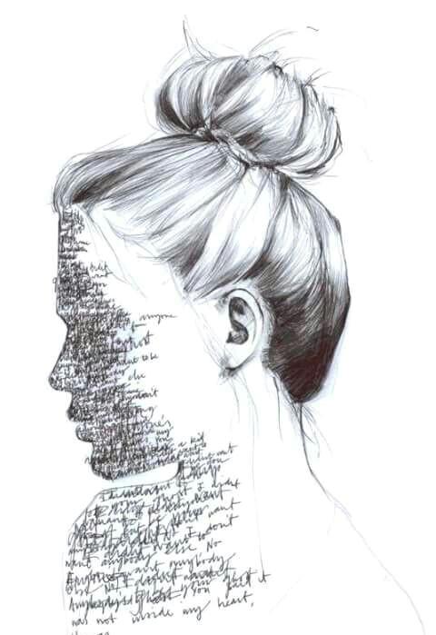 drawing illustration hair girl model writing line ink pen biro gracedraws