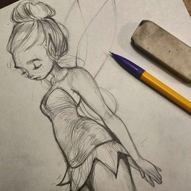 tinkerbell sketch art artistsofinstagram illustration sketch pencil graphite tinkerbell disney girl