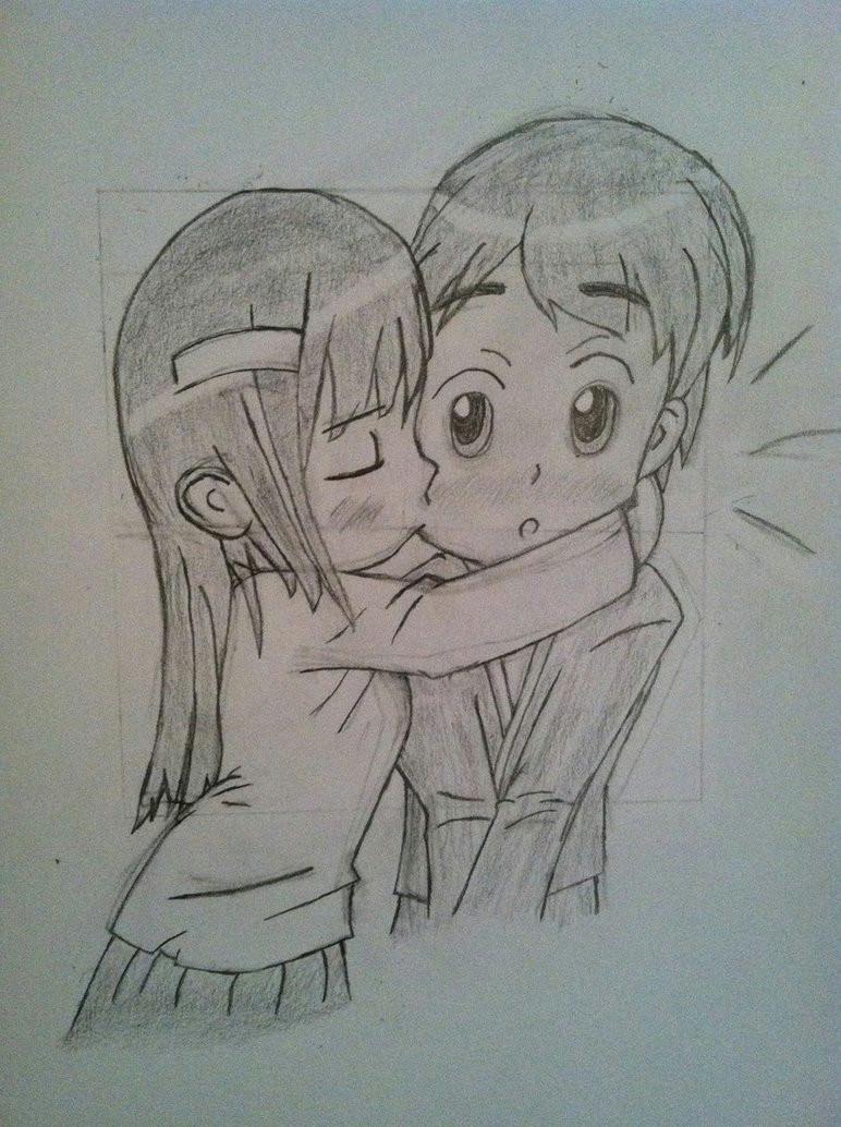 772x1034 chibi girl kissing boy the cheek by kaladinn
