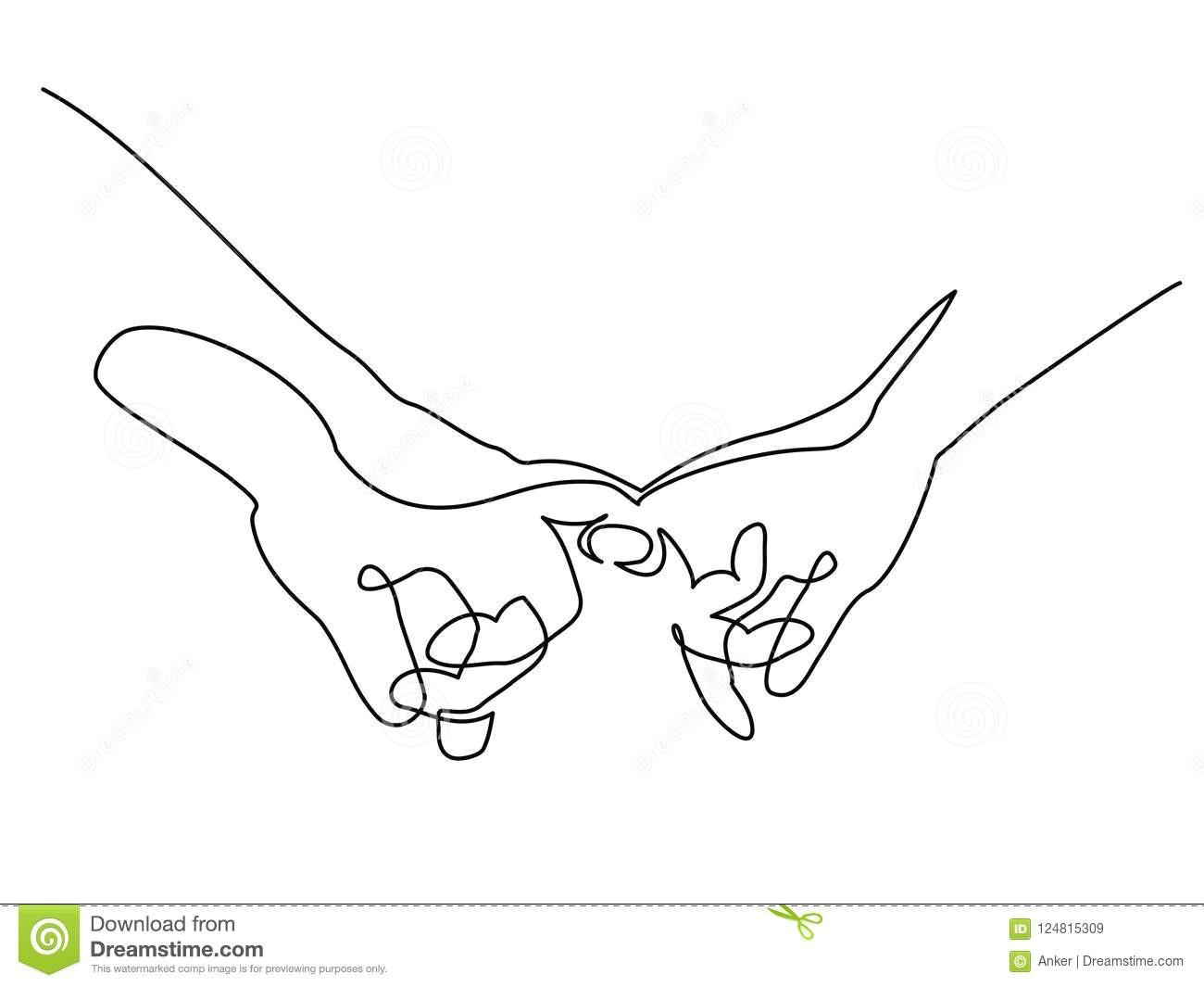 continuous one line drawing hands woman and man holding together with little fingers vector illustration concept for logo card banner poster flyer