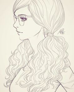 sketching in class with my students kinda into girls with glasses at the moment