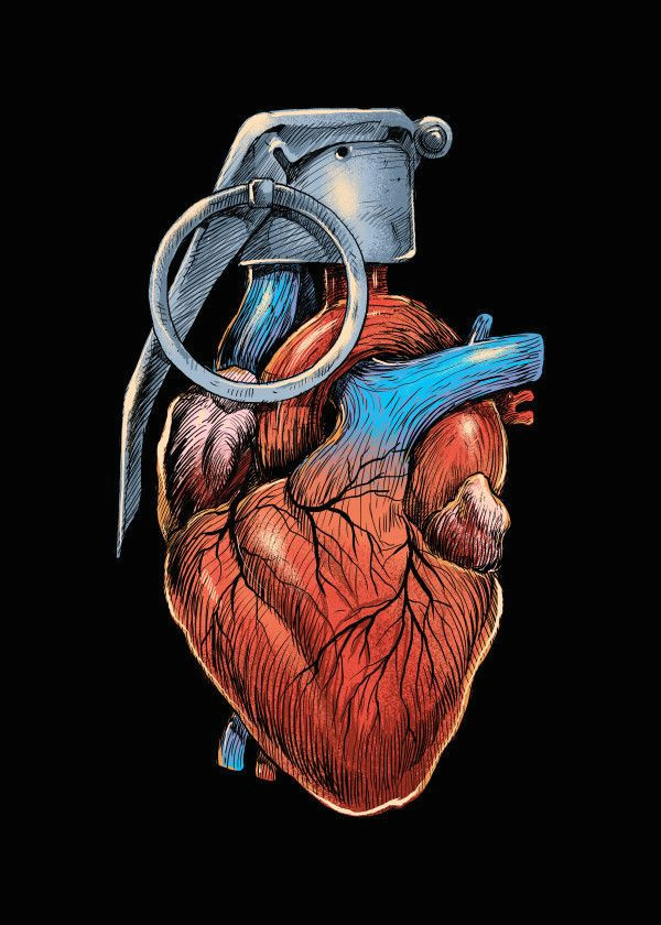 displate poster heart grenade heart grenade love war carbine