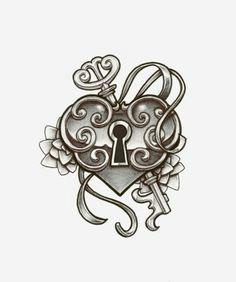 heart locket tattoo flash picture is a part of heart locket tattoos