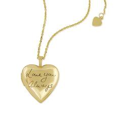 handwriting memorial heart locket in 10k yellow gold by megangoldkamp gold heart locket heart of