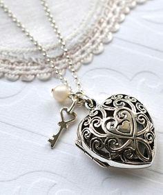 pearl amp sterling silver vintage heart locket necklace