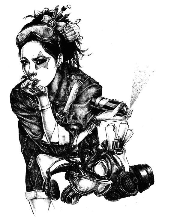 japanese pop art pencil art pencil drawings graffiti girl geisha lowbrow