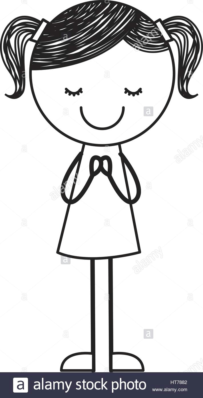 Drawing Of A Little Girl Cartoon Cute Little Girl Drawing Character Stock Vector Art Illustration