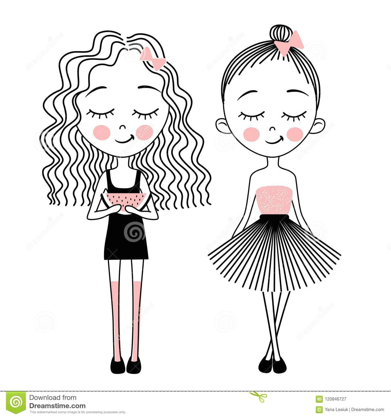 vector cute little girls fashion kids