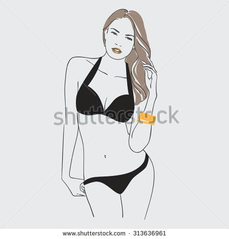 art background with standing beautiful young sexy woman in black swimsuit with long blonde hair sketch vector illustration stock vector