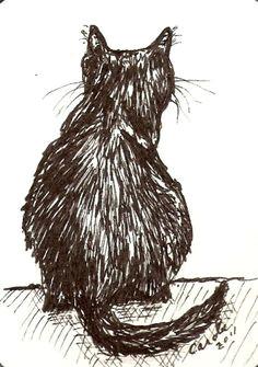 aceo original cat drawing cat back view pen by ladybugartstudio ink drawings animal drawings