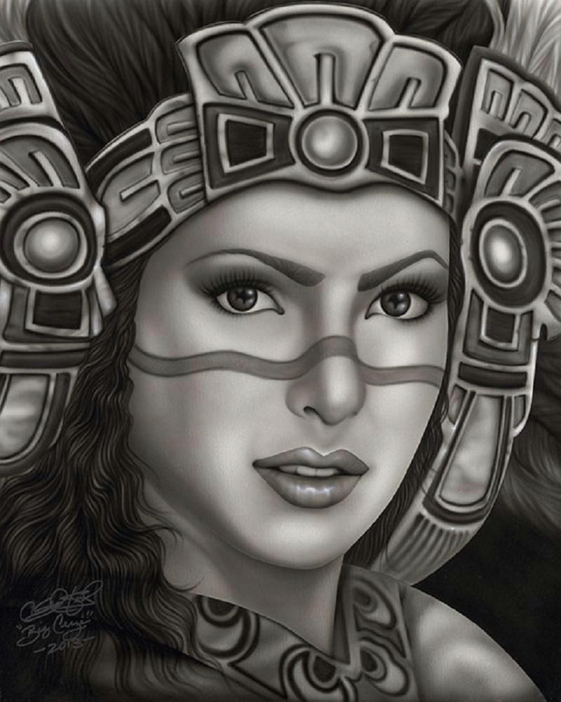 aztec princess by big ceeze mexican woman w headdress canvas art print geometrictattoos