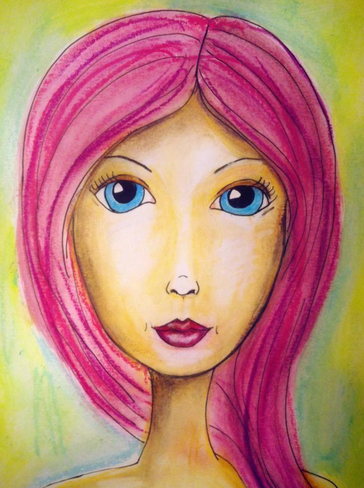 a pink hair facecinating girl drawing women woman drawing mixed media faces mixed